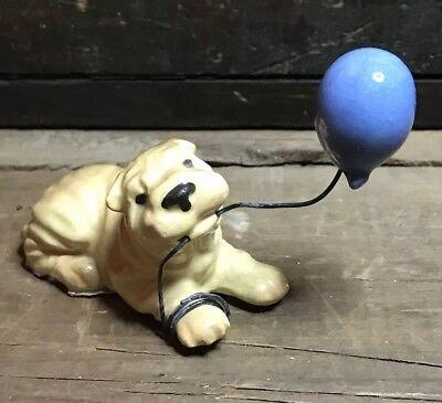 Shar Pei Dog w/ Balloon Hagen Renaker Miniature Figurine Mint!