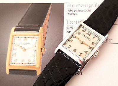 Fine & Rare Vintage 18K White Gold Patek Philippe Rectangular Men Watch 1920's