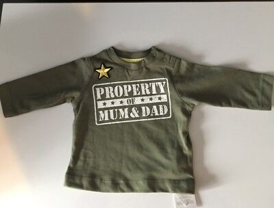 Baby Boys Up To 1 Month Nutmeg Khaki Army Style Top Long Sleeves BNWT Last One !