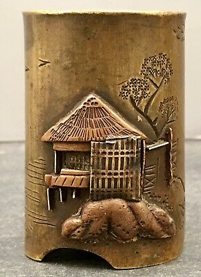 Japanese Meiji Bronze Mix-metal Brush Pot
