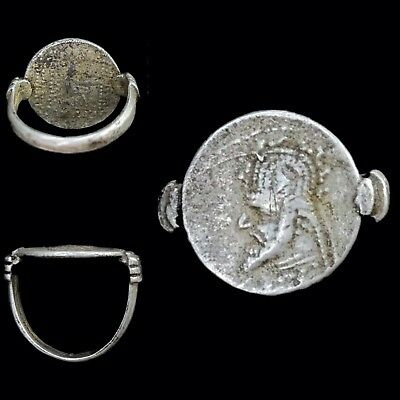 Ancient Indo-Greek Silver Coin Ring,  171-135Bc. (2)