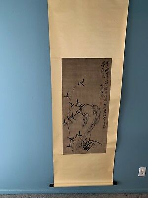 Old Chinese Scroll Watercolor On Paper Painting Of A Crane Resting On A Branch