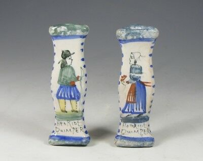 Pair Antique Quimper Henriot French Faience Knife Rests
