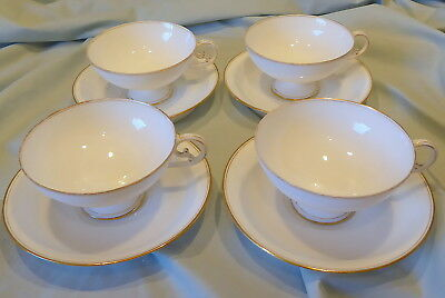 Elegant Antique Limoges Porcelain Jean Pouyat Footed Cups and Saucers