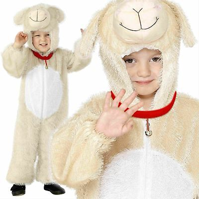 Kids Lamb All in One Fancy Dress Jumpsuit Costume Animal Nativity Sheep Age 4-9