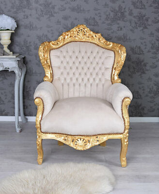 Chateau Armchair Baroque Wingchair chaise french Louis furniture carved  throne