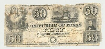 1840 $50 bill issued by the Republic of Texas and signed by Mirabeau Lamar