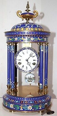 Enormous Chinese Cloisonne & Brass Pillared Mantel Clock W/ Oil Lamp Finial.