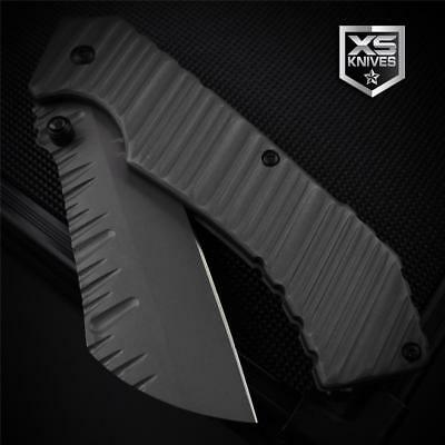 """Aircraft Gray RIPPLE Cleaver Tanto Tactical Spring Assisted Pocket Knife 7.75"""""""