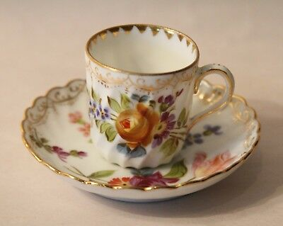 19thc English Miniature Cup & Saucer Heavily Decorated