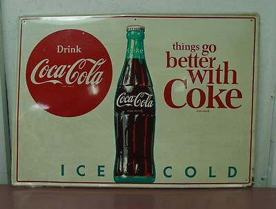 "1964 Coca Cola Tin Metal Sign ""Things Go Better With Coke""  20"" x 28"" MCA 2731"