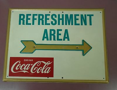 "Coca Cola 1950's/60's ""Refreshment Area Sign"" w/ Arrow 18"" x 24"" AM86"