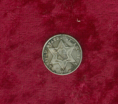 1860 Type III Three Cent Silver-Fine Details but Dark with Light Cut Mark