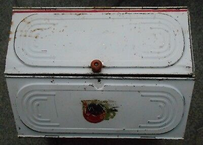 AUTHENTIC ANTIQUE Tin Bread Box Hand Painted Red Wood Handle 1930's   * RARE*