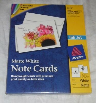 Avery Note Cards for Inkjet Printers 4 1/4 x 5 1/2 Matte White 60/Pack  L