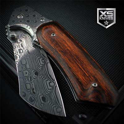 DAMASCUS Pocket CLEAVER Tanto CHERRY WOOD Handle Spring Assisted Pocket Knife 8""