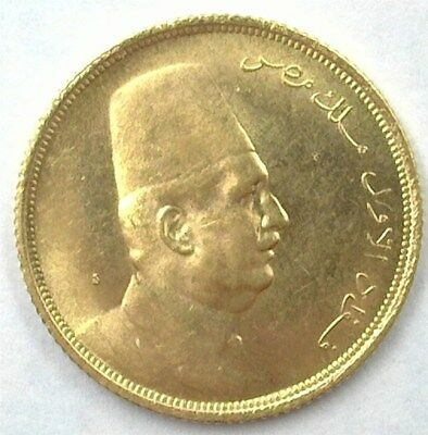 Egypt 1923 Gold 20 Piastres Gem Uncirculated