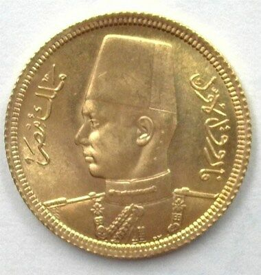 Egypt 1938 Royal Wedding  Gold 20 Piastres Gem Uncirculated