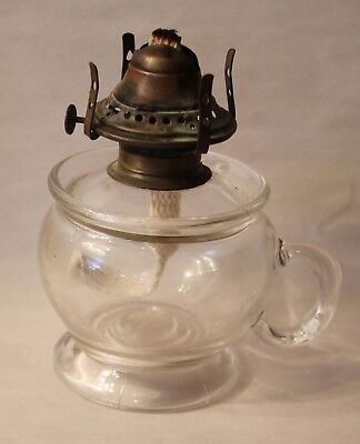 1860s Blown Oil Lamp with Handle