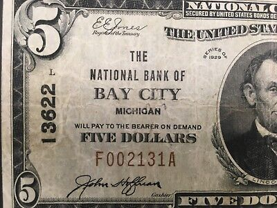 USA  5 Dollars  National  -- Bay City, Michigan  -- Charter # 13622