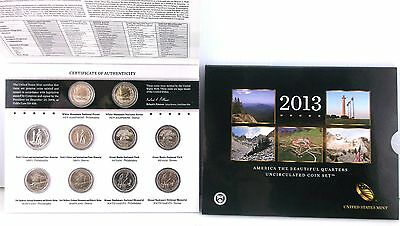2013 - US Mint America the Beautiful Uncirculated Quarter -10 Coins P & D ~#4046