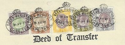 South Africa KGV Revenue 1/- 5/- 10/- £2 & £5 used on 1921 Deed of Transfer