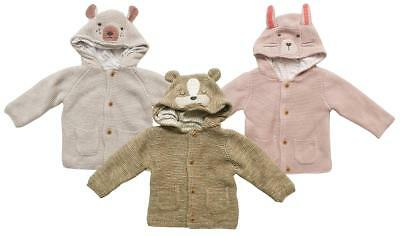 Baby Bear Dog Cat Chunky Knit Hoody Cardigan Jacket with Ears Tiny to 12 Months