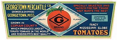 Crate Label Vintage Mississippi Genuine 1930S Tomatoes Diamond Georgetown