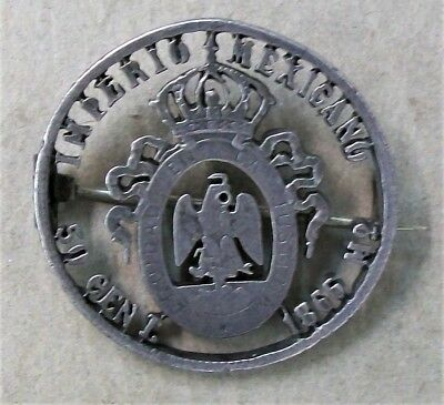 1866 Maximilian 50 Centavos Silver Coin Cut Out Coin Pin