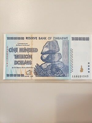 100 Trillion Zimbabwe Banknotes 2008 AA Series CIRCULATED - AUTHENTIC