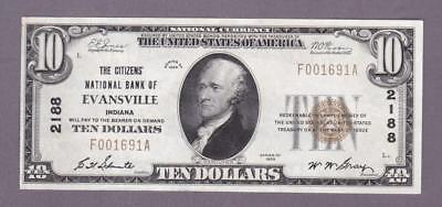 """$10 1929 """"The CITIZENS' NAT'L BANK of EVANSVILLE, IN"""" - Charter 2188     x8a"""