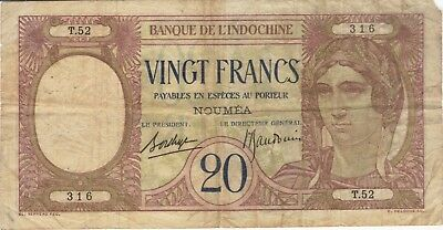 1929 20 Francs Noumea New Caledonia Currency Banknote Note Money Bank Bill Cash