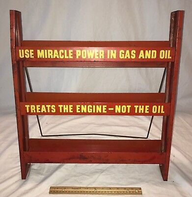 Antique Miracle Power Tin Litho Gas Oil Station Can Display Sign Vintage Engine