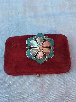 Vtg Daisy Flower Mother Of Pearl & Enamelled Guillouche Sterling Silver Brooch