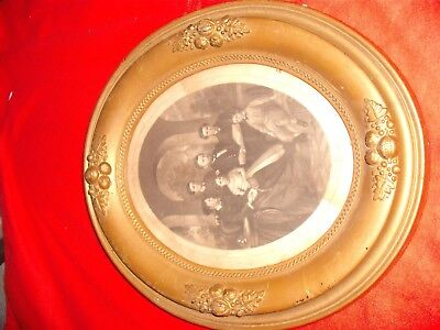 Amazing post Civil War 1869 oval framed print General Grant and Family portrait