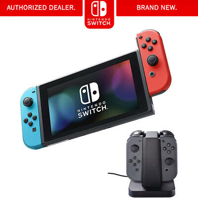 Nintendo Switch Neon Blue and Red Joy Con with Charging Dock Bundle