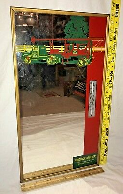 Antique Woodcock Co Vintage Truck Well Sign Mirror Thermometer Smiths Basin Ny