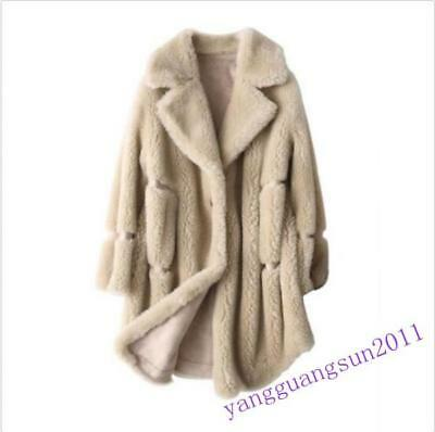 Womens 100/% Real Shearling Lamb Fur Coat Sheep Skin Jacket Loose Warm Parka New