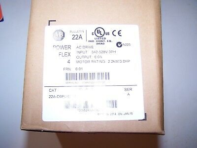 Allen-Bradley Powerflex 4 Series A 22A-D6P0N104 2.2Kw  3.0Hp