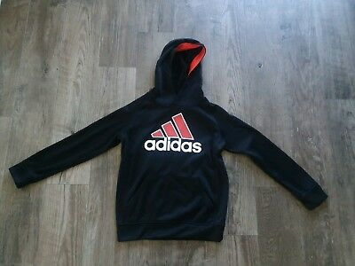 Boys Adidas Tech Fleece Lined Hoodie Size 8 Small Black With Logo