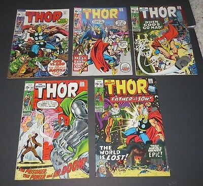 Lot of 5 Thor Silver/Bronze Age Comics #177 179 180 182 187 FN/VF 7.0 Marvel