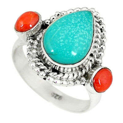 Natural Green Turquoise Tibetan Pear Red Coral 925 Silver Ring Size 7 K78196