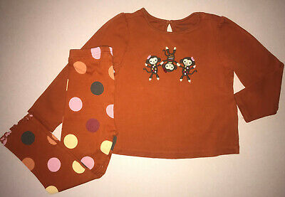 Gymboree Fall For Monkeys Burnt Orange Top Dot Leggings Girls 4T Cotton