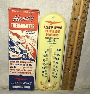 Antique Fleet Wing Kennedy Gas Oil Corsica Pa Tin Litho Thermometer Sign In Box