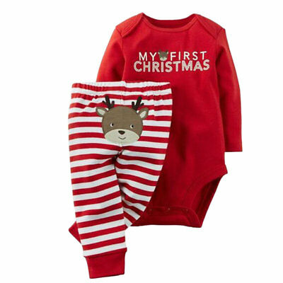 2pcs/Pack Xmas Deer Baby Infant Bodysuits Pants For Boys Girls Jumpsuits VD