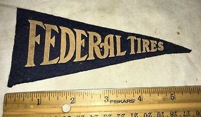 Antique Federal Tire Miniature Cloth Pennant Banner Sign Vintage Gas Oil Station