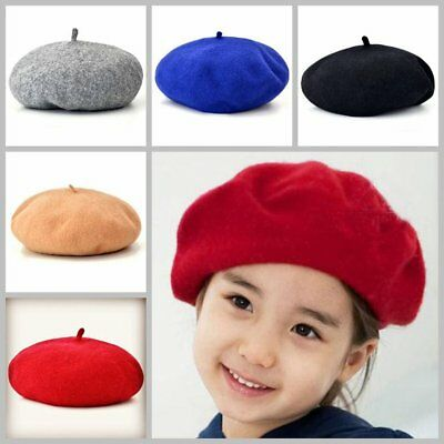 Casual Children Hat Solid Color Vintage Berets Cap Round Woolen Hat for Girls VD