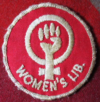 c1960-70 WOMEN'S LIB Embroidered Patch Upright Fist In Female Logo Liberation