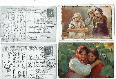 Post Cards Children Two Early Cards Printed In Russia