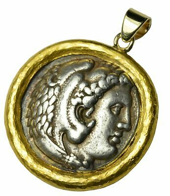Ancient Roman Silver Tetradrachm Coin Set in Customer 22k Yellow Gold Bezel
